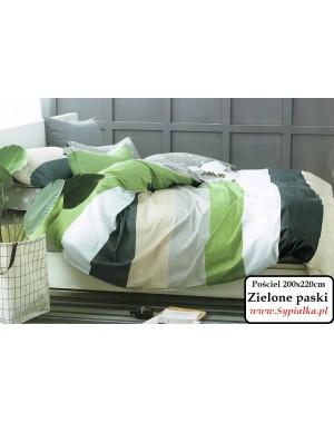 Pościel Zielona w pasy 160x200 grochy beż grafit