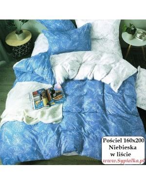 Pościel Niebieska w liście 160x200