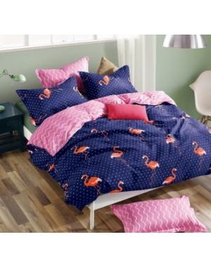 Pościel Flamingi 160x200 Granatowa w różowe akcenty