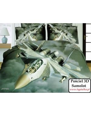 4cz. Pościel szara 3D Samolot wojskowy 200x220 z prześcieradłem