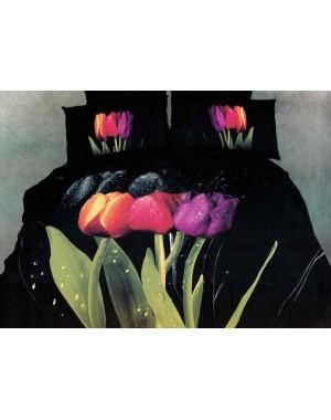 Pościel 3D Czarna w tulipany 200x220cm