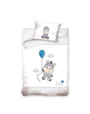 Pościel Zebra z balonikiem 100x135 Niebieskie groszki
