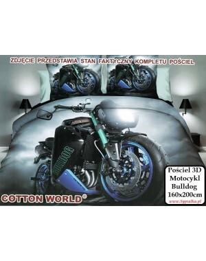 Pościel 3D Motocykl - grafitowa czarna Bulldog