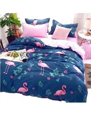 Pościel Flamingi 200x220 Granatowa w różowe akcenty