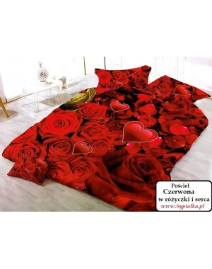 Pościel Czerwona w róże 3D 160x200
