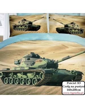 4cz. Pościel militarna Czołg na pustyni 200x220cm z prześcieradłem