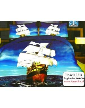 Pościel 3D Statek na morzu - okręt 160x200 satyna bawełniana