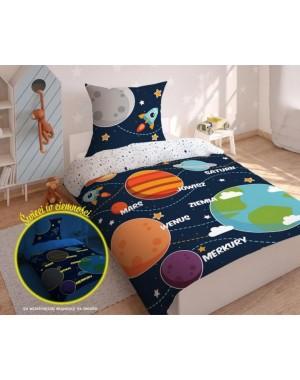 Pościel Granatowa - Kosmos - Planety 160x200 bawełniana chłopięca