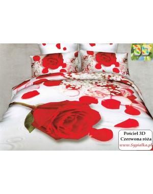 Pościel 3D Czerwona róża w śniegu 200x220 w kartoniku