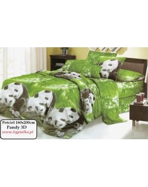 Pościel 3D Panda 160x200 zielona - wyraźny wzór