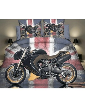 Pościel 3D Motocykl Yamaha Bulldog i flaga 160x200 motor