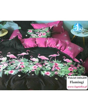 Pościel czarna we flamingi...