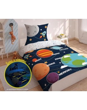 Pościel Granatowa - Kosmos - Planety 140x200 bawełniana chłopięca