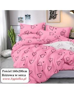 Pościel romantyczna Różowa w serca 160x200cm mikrowłókno