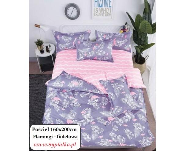 Pościel Fioletowa we flamingi...