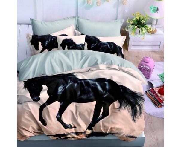 pościel 3D Czarny koń