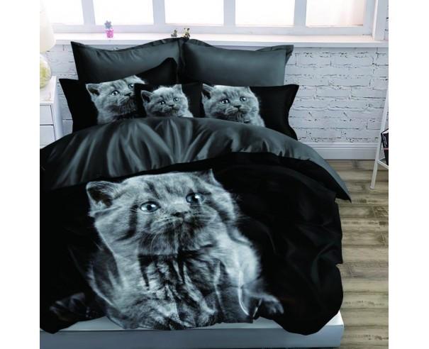 Pościel 3D Szary kotek - czarna...