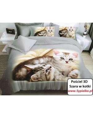 Pościel 3D Szara w kotki...