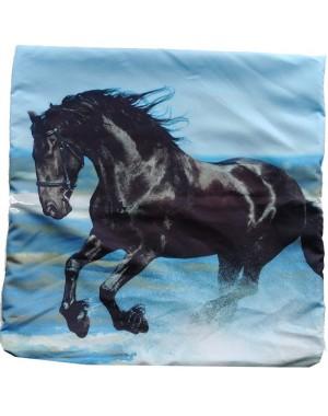 Poszewka czarny Kary koń 3D...
