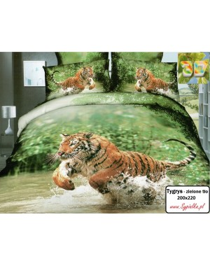 Pościel Tygrys zielone tło 200x220