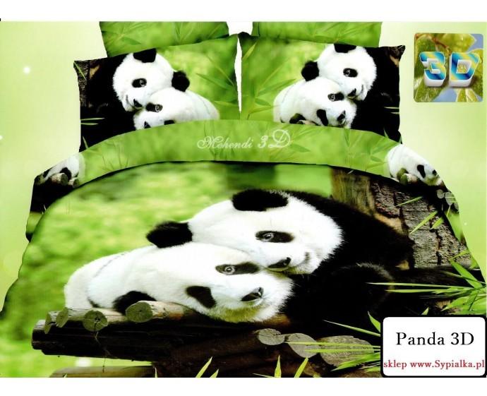 Pościel 3D Panda 200x220 z prześcieradłem - 4 części